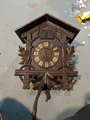 Antique Black Forest Sears Roebuck Germany Cuckoo and Quail clock.  Wood birds