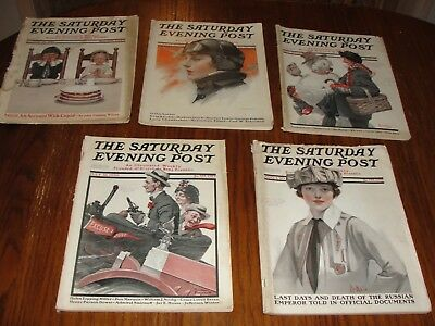 Lot of 4 Antique Saturday Evening Post covers: 1913 1917 1920