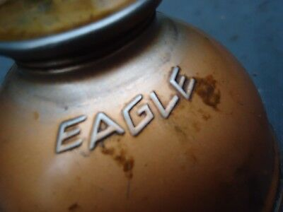 "Vintage Thumb OILER Copper Color EAGLE OIL CAN w CURVED SPOUT 10 1/2"" Rustic"
