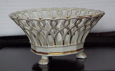 Antique Old Paris Porcelain Claw Footed Reticulated Compote Basket French Empire