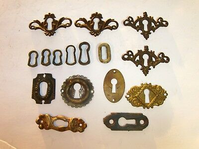 Lot of 16 Antique Victorian Fancy Brass Skeleton Keyhole Escutcheon Covers