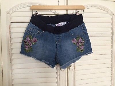 Planet Motherhood Maternity Shorts Blue Ramie Cotton Stretch Size Large 12/14