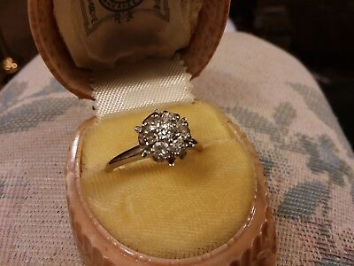 Antique Art Deco 14K White Gold .75 Ct Diamond Engagement Cluster Ring Size 9