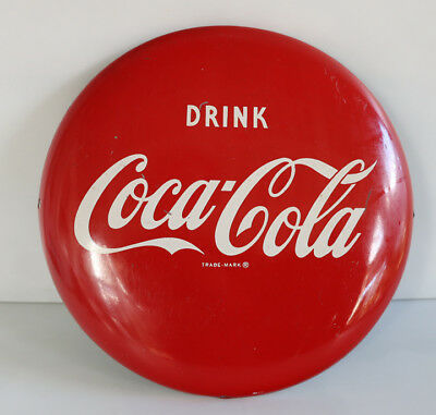 "1950s Original 12""  COCA COLA BUTTON Sign   AM"