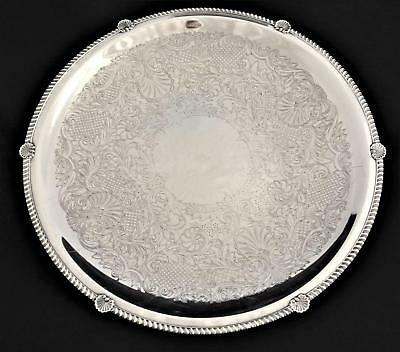 18 iNCH HUGE SILVER PLATE LAZY SUSAN SERVING TRAY CENTERPIECE BOWL ENGLISH SHELL