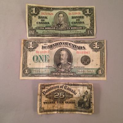 Lot Canadian Dollar Notes 1923 1937 & 25 Cents 1900