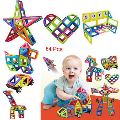 64Pcs DIY 3D Multicolour Magnetic Blocks Construction Building Kids Toy Puzzle