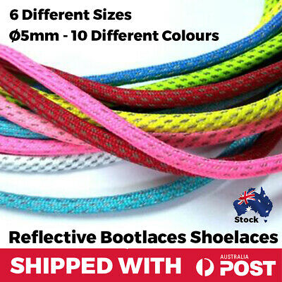 Reflective Shoelaces Bootlaces Round Shoe Lace Sneakers Runners Jogging Ø5mm