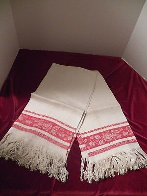 Pair Of Vintage Linen Damask Red And Off White Towels W/ Fringe