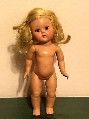 Vintage Vogue Ginny Doll Early 1950's Blonde Hair Brown Eyes Side Part