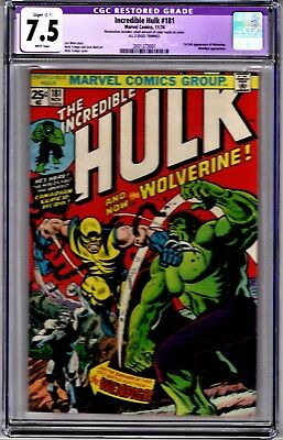 INCREDIBLE HULK #181-CGC 7.5 Restored-KEY ISSUE-1st Full Appearance of Wolverine