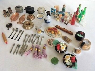 Vintage Dollhouse Miniatures Mixed Lot of Kitchen and Dining Accessories