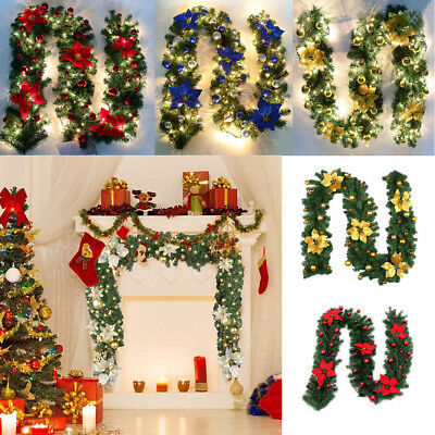 9ft Christmas 40 Led Lights Pre Lit Decorated Garland Fireplace Tree