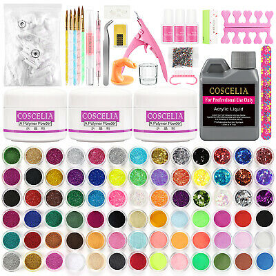 CosCelia Full DIY Acrylic Art Kit Set Acrylic Powder Liquid Nail Tips Sticeker