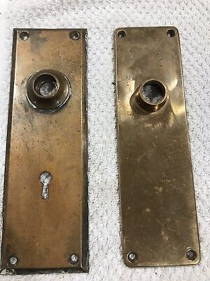 Two ANTIQUE BRASS  DOOR  FACE PLATES Heavy