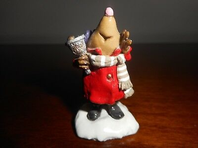 WEE FOREST FOLK MOLE CHRISTMAS BELL RINGER RED COAT w/BOX/RETIRED