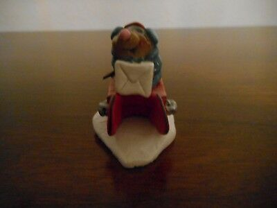WEE FOREST FOLK MOLE's NEW RED SLED 1995 RETIRED w/BOX