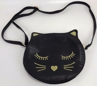 "Torrid Black Cat Purse 10"" Crossbody Gold Embroidered"