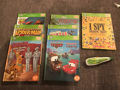Leap Frog TAG Reader - 7 Books and Green Reader Pen