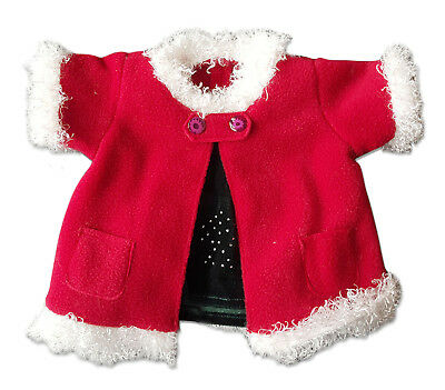 "Red Christmas Coat & Skirt Outfit Teddy Bear Clothes Fit 14"" - 18"" Build-a-bear"