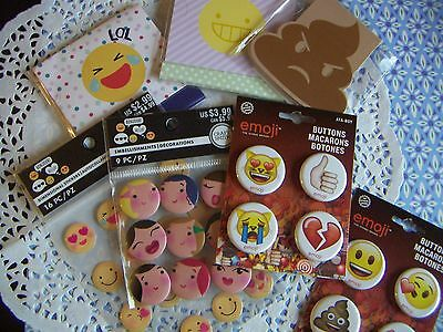 "Emoji Iconic Brand 1.25"" wide Metal Pinback Buttons & Note Pads Huge Lot"