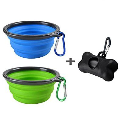 2 Pack Portable Collapsible Dog Bowl,Food Grade Silicone BPA Free,Foldable Bowl