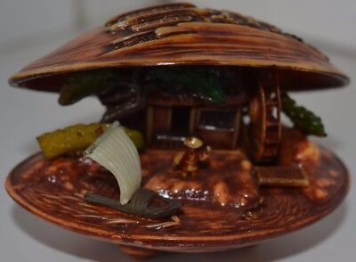 Vintage Chinese Figure Japan Clam Boat #2 Asian Oriental
