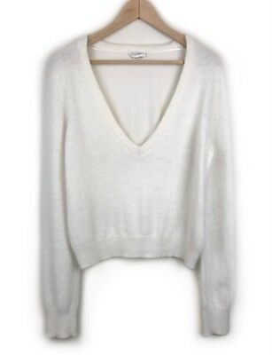 Witchery White Angora Wool Jumper Size M Silk Back Soft Knit V Neck Long Sleeve