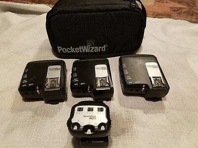 3 Pocket Wizard TT5 with TT1 and AC3 (European version) for Canon Includes Case!