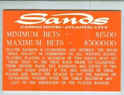 Sands Casino Baccarat table Sign Atlantic City 80's or 90's