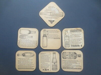 complete set of 7  SCHWEPPES Soft Drinks  1960,s Issued Advertising Coasters