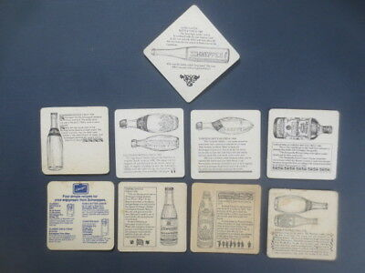 complete set of 7 & 2 SCHWEPPES Soft Drinks  1980,s Issued Advertising Coasters