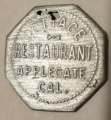 Applegate Cal Gold Rush area town trade token 12 1/2 cent