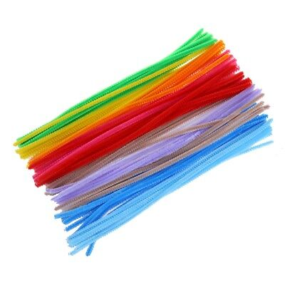 100pk New UK Bright Chenille Multi Coloured Pipe Cleaners Y2U2