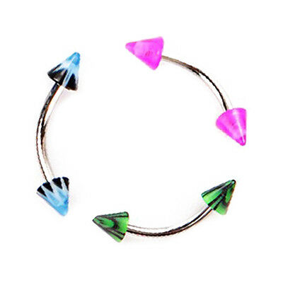 20pcs Colorful Stainless Steel Cone Barbell Curved Eyebrow Rings Bars HY