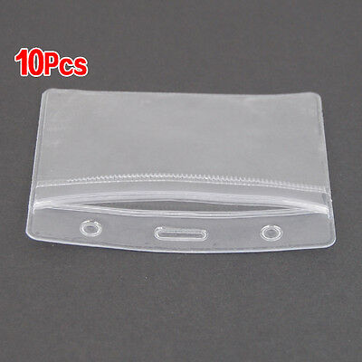 10x Show Clear Vertical ID Badge Card Plastic Pocket Holder Pouches 98 x 86mm HY