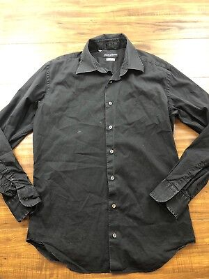 7e6ec4642821ea Dolce Gabbana Mens Black Collared Dress Shirt Size 16.5 Large Casual