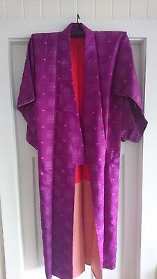Fab Purple Patterned Vintage Japanese Full Length Silk Kimono With Bold Lining
