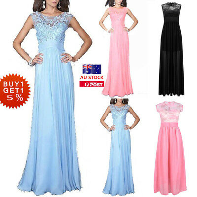 Women Lace Sleeveless Wedding Maxi Dress Cocktail Evening Party Prom Formal Gown