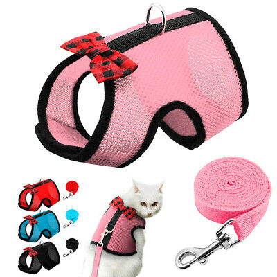 Breathable Escape Proof Cat Harness Leash Soft Mesh Walking Vest Red Pink Blue