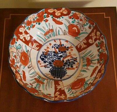 Antique Japanese Arita Imari Painted Porcelain Bowl Red Blue Floral Fluted Edge