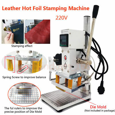 "Leather Hot Foil Stamping Embossing Machine 4"" x5"" Pressing Marking 220V Digital"