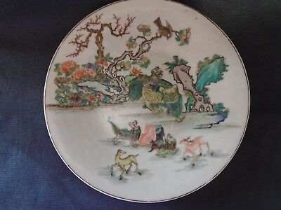 Chinese 19th.century export porcelain Famille-verte painted dish, good condition