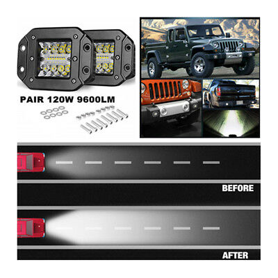 "4.8"" LED White 120W Spot Flood Combo 9600LM SUV UTE Bumper Reverse Lamps"