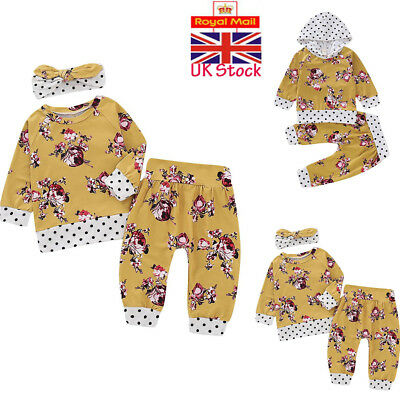 UK 2/3PCS Baby Girls Outfits T-shirt+Pants Set Toddler Spotted Clothes Tracksuit