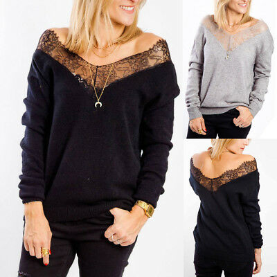 Pretty Women Fashion Hollow Out Long Sleeve Strapless Lace V-Neck Pullover Tops