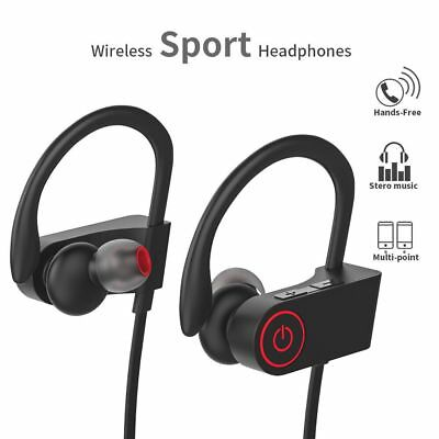Wireless Bluetooth Headset Headphone Sport Sweatproof Stereo Earbuds Earphone US