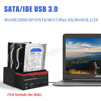 External Triple SATA IDE HDD Docking Station 2.5''& 3.5'' Hard Drive Card Reader