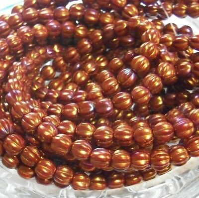 Choose Color - 50 Beads - Czech Glass 5mm Fluted Round Melons - FREE SHIPPING