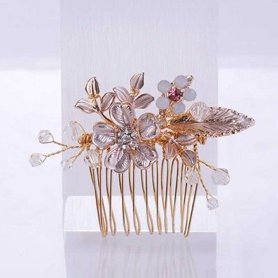 Wedding women hair bride Accessories Rose Gold Leaf Comb piece Clip Pin Bridal
